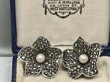 Art Deco Fine Sterling Silver Marcasite Pearl Flower Clip Earrings