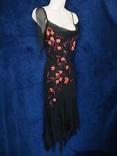 NWT DJ Nights Black Silk Cowl Burgundy Coral Beaded Organza Gypsy Formal Dress 4