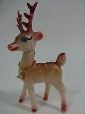 Vintage - CHRISTMAS REINDEER Soft Plastic Rudolph Figurine - Hong Kong - AUC#2