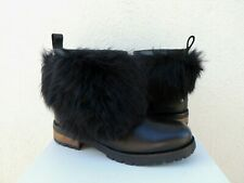 UGG BLACK OTELIA WR LEATHER SHEEPSKIN CUFF WINTER/ SNOW BOOTS, US 8/ EUR 39 ~NIB