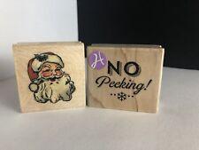 No Peeking & Vintage Santa Face Rubber Stamp Wood Mounted Gift Tag/Christmas New