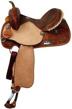 "16"" Double T Barrel Saddle - Silver Laced Cantle w Roughout Fenders & Jockies!"