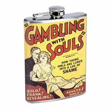Vintage Poster Gambling With Souls D307 Flask 8oz Stainless Steel Hip Whiskey