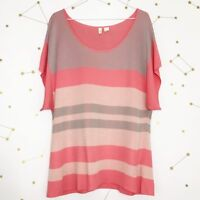 Anthropologie Moth Sweater Size Large Pink Striped Short Sleeve Boxy Setting Sun