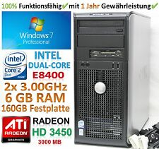 Windows 7 PC│Intel E8400 2x 3.00GHz│6 GB RAM│160 GB HDD│ATI Radeon HD3450│DVD±RW