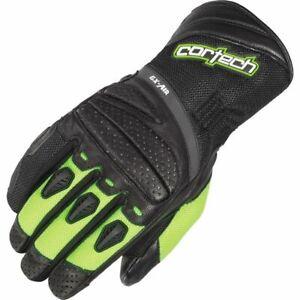 Cortech GX-Air 4 Hi-Viz Vented Leather/Textile Motorcycle Glove - Black/Hi-Viz,