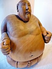 "Hand Carved Wooden Japanese Sumo Wrestler Sculpture Figure Statue 16"" big Big!"