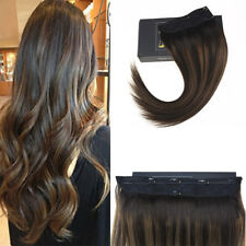 Sunny Balayage Brown Invisible Halo Weft Human Hair Extension with Clips on