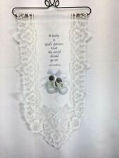 "Ivory Lace Wall Hanging, Baby Shoes, Saying About God & Babies Size 14"" X 26"""