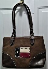 EUC Country Road Two-Tone Brown Leather Tote with Studded Texas Flag