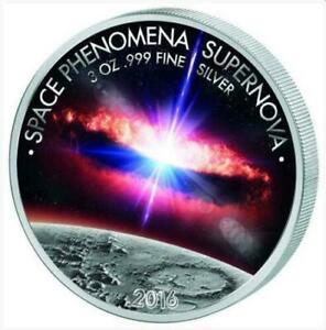 "Benin 2016 1500 Francs ""Space Phenomena Supernova"" 3 oz Silver Proof Coin"