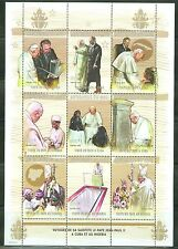 MALI POPE JOHN PAUL II TRIPS SHEET OF NINE   ALSO DEPICTING FIDEL CASTRO MINT NH