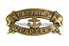 CAPTAINS QUARTERS SIGN Nautical Plaque Ship Boat Sign Antique Wall Home Decor