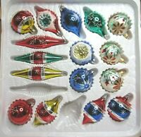 16 Vintage Hand Painted Bradford Glass Christmas Ornaments Mixed Lot