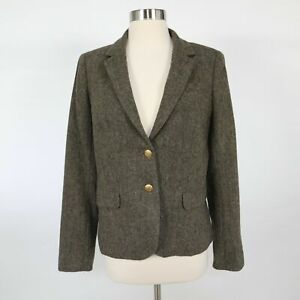 J.CREW Schoolboy Blazer Jacket Tweed Womens 8 Wool Moss Green Donegal Classic