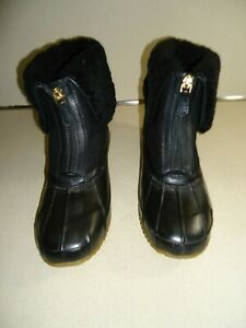Tory Burch Black Abbott Shearling Cuff Duck Boot Women SZ# 10