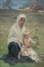 Diogene Ulysse N Maillart (French 1840-1926) Original Old Oil Painting Signed