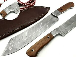 Damascus Utility Fixed Blade Machete Knife WalnutWood Handle Full Tang 15 inches