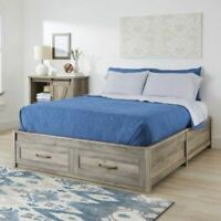 Modern Farmhouse Queen Platform Bed Frame with Storage Drawers Rustic Gray NEW