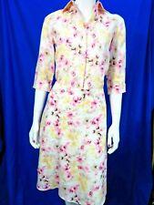 Ann Taylor summer 2 pc Linen pink floral shirt US XSP UK 6 & Skirt  US 2 UK 6