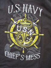 UNITED STATES NAVY CHIEFS USN MESS BLACK T-SHIRT - SIZE 2XL - NWOT