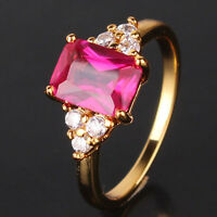 Your nice choice! Woman party 24k yellow gold filled Radiant ruby ring SzJ-SzR