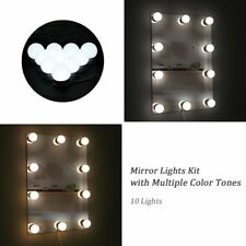 Hollywood Vanity 10 LED Dressing Mirror Strip Light Kit Makeup w/ Dimmable Bulb