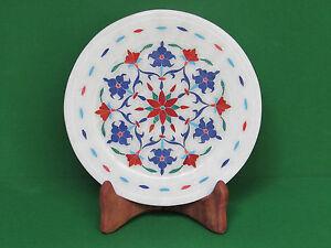 Marble Plate Inlay Art Pietra Dura White Stoneware Handicraft