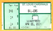 2004 STL CARDINALS OPENING DAY TICKET STUB-4/5/04 VS. BREWERS