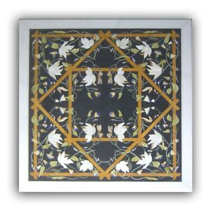 Black Marble Dining Table Top Semi Precious Floral Inlay Art Handmade Decor B392