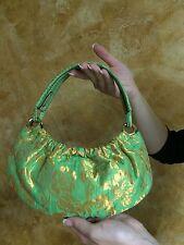"""kate spade NY Small Marina """"NICE FLORAL"""" GREEN TAPESTRY GOLD Bag Purse Handbag"""