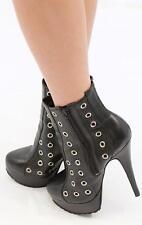 CHRISTOPHER KANE TOPSHOP Black Leather Rivet High Heel Boots EUR 40 AUS 9 1/2