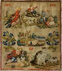 MID 19TH CENTURY CAT, DOGS, BIRD & PEOPLE SAMPLER INITIALLED ICB etc. - c.1860