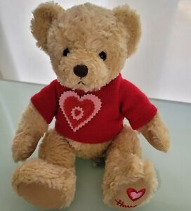Harrods Knightsbridge Valentines Teddy Bear Plush with Red Hearts Sweater