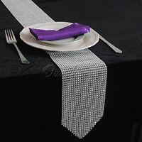 12*275CM Bling Sparkly Diamond Mesh Wrap Rhinestone Table Runner Wedding Decor