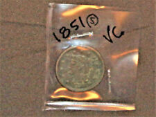 "1851 LARGE CENT – LIBERTY HEAD (BRAIDED HAIR) - GRADES ""VERY GOOD"""