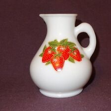 Vintage Avon Milk Glass Bottle Strawberries & Cream Bath Foam 4 oz Empty