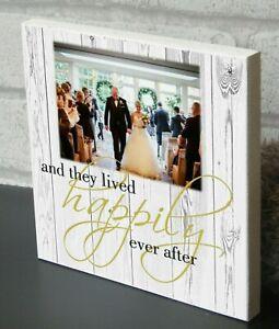 Personalised Wedding anniversary Plaque Wooden Keepsake Photo Block Present Gift