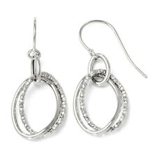Leslies 10k White Gold Polished & Textured Shepherd 12mm x 30mm Hook Earrings