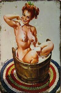 SEXY LADY BATHROOM Rustic Look Vintage Tin Metal Sign Man Cave Shed-Garage  Bar