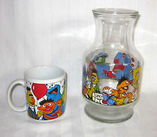SESAME STREET COFFEE MUG & ICE TEA JUG OSCAR COOKIE BIG BIRD BERT ERNIE SET OF 2