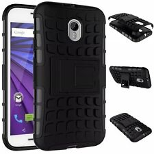 Black Strong Tradesman Tough Case Cover Stand for Motorola Moto G3 3rd Gen 2015