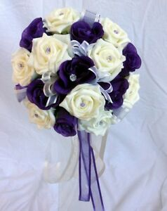 Bridesmaids Wedding Bouquet, Purple and ivory foam roses with diamante