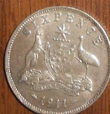 1911 Australian Silver 6d ( Sixpence ) KING GEORGE V  (very Nice) gVery Fine