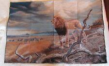 Lion African Safari Zebra Buffalo Prairie unfinished Tapestry Wall Hanging Panel