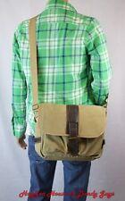 Mens Cotton Canvas Casual  Medium Size Daily Messenger Shoulder Bag(B3061)-Khaki