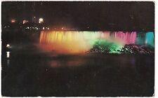 American NIAGARA FALLS NY Postcard Vintage Colored Water, Colors At Night 1957