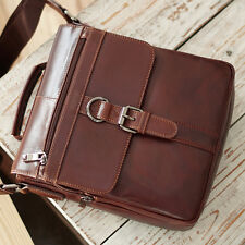 Mens Brown Leather Messenger Bag Shoulder Bag Briefcase Womens Cross Bag