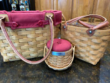 Set of 2 Longaberger Large Boardwalk Baskets with Plastic Protector Small & Med