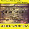 French CACAO PAYRAUD stencil template Paris DIY Vintage signage Shabby Wall Art